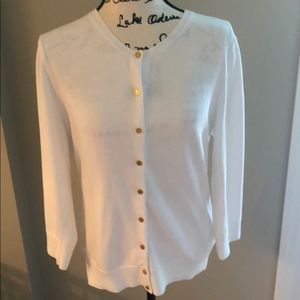 Lilly Pulitzer White Cardigan Large 100% Cotton
